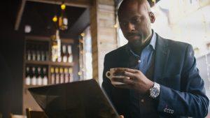 man browsing food menu