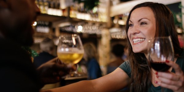 Smiling with wine
