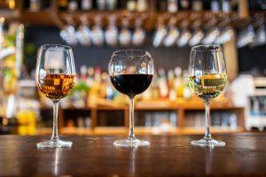 wine glasses on the bar