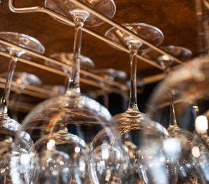 Upside down hanging wine glasses