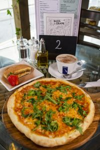 pizza, dessert and coffee lunch offer